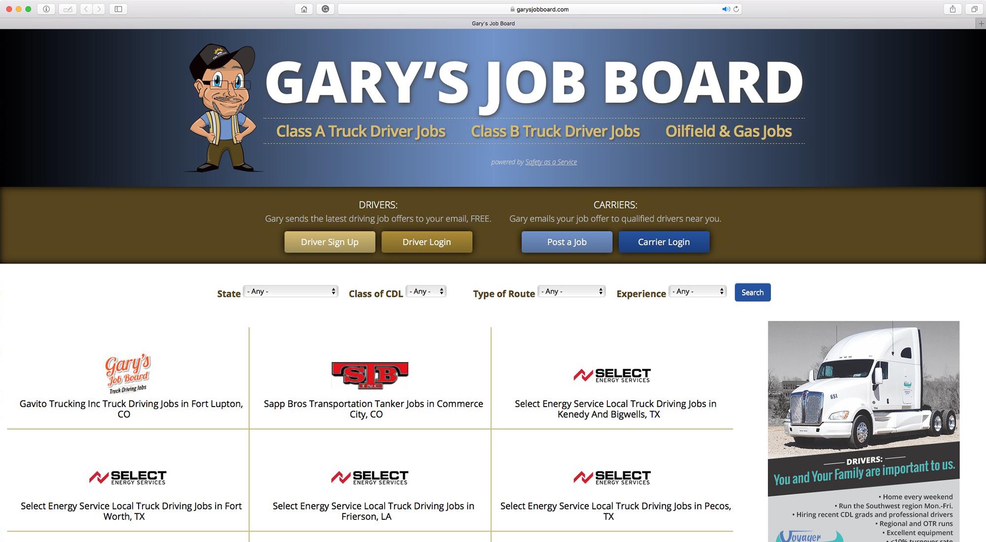 garysjobboard.com homepage